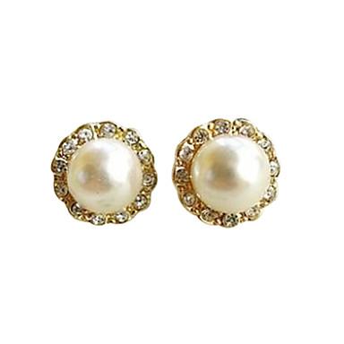 Kadın's Vidali Küpeler Moda minimalist tarzı İnci Simüle Elmas Mücevher Parti Günlük Kostüm takısı