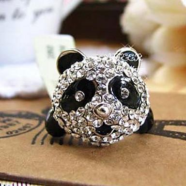 팬더 전체 다이아몬드 반지 조절 링 오프닝 반지 (무작위 색깔)를 가진 장식