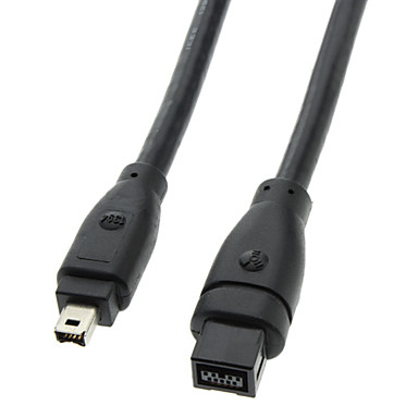 9 PIN / 4PIN iki dilli FireWire 800 - FireWire 400 Kablosu Siyah (1.8M)