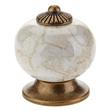 Klasik Seramik Düğme Çekmece Çekeceği (Sütlü Beyaz)