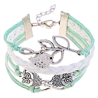 Heren Lederen armbanden Leder Verzilverd Uil Groen Sieraden Voor Feest Dagelijks Causaal 1 stuks