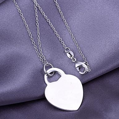 Argent Coeur Cuivre Collier avec pendentif