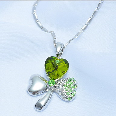 Sweet Clover Crystal Pendant Necklace(Assorted Color)