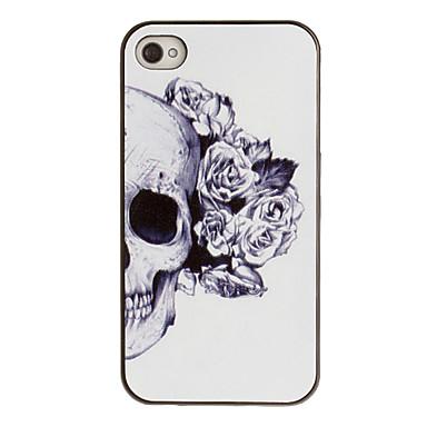 IPhone 4/4S için Black Frame Gül dekore edilmiş Kulak Desen PC Hard Case ile kafatası