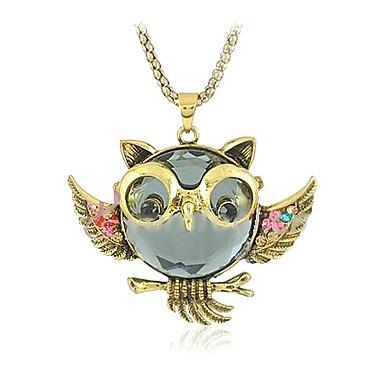 Kadın's Uçlu Kolyeler / Vintage Kolye - Simüle Elmas Baykuş Kişiselleştirilmiş, Lüks, Moda Altın Kolyeler Mücevher 1pc Uyumluluk Günlük