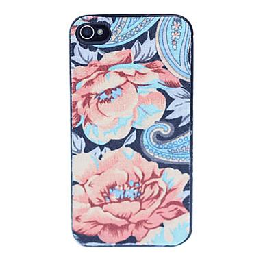 iphone 4 / 4s iphone durumlarda için çiçek desen plastik arka durumda