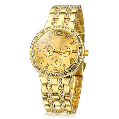 Bayanların Moda Saat Quartz imitasyon Pırlanta Paslanmaz Çelik Bant Işıltılı Altın Rengi