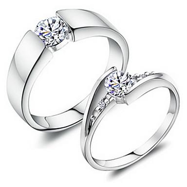 Kadın's Bakır / Platin Kaplama / 18K Altın Çift Yüzükleri - Moda Gümüş halka Uyumluluk Düğün / Parti / Günlük / Yapay Elmas / alaşım