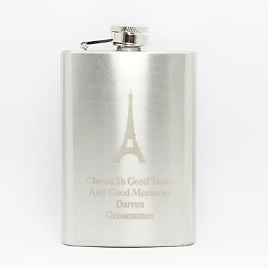 Kişiselleştirilmiş Babalar Günü hediyesi Eyfel Kulesi desen 8oz metal şişesi