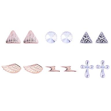Mulheres Conjunto de Jóias Brincos Curtos Cristal Luxo Fashion Europeu Chapeado Dourado Imitações de Diamante Triângulo Forma Geométrica