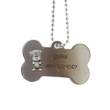 Персональный подарок Кость Форма Серебряный Pet Id Name Tag с цепочкой для собак
