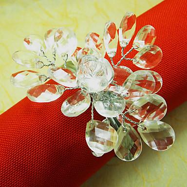 Kristal Düğün Peçete Yüzük, Akrilik Tel Dia 4.5cm