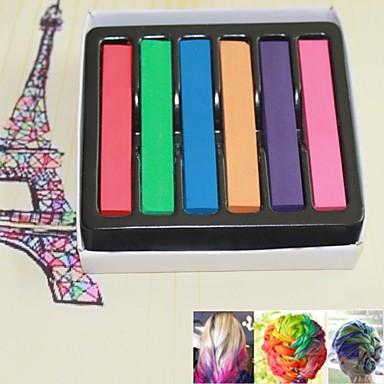 6 cores Pieces DIY cor temporária cabelo macio Pastels Chalk