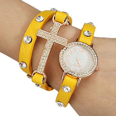 Women's Crystal Cross Decor Leather Band Quartz Analog Bracelet Watch (Assorted Colors)