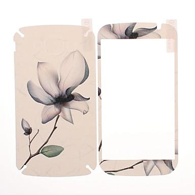 Samsung Galaxy i9082 Büyük Duos için Çiçek Desen Ön ve Arka Ekran Koruyucu Deri Etiketler
