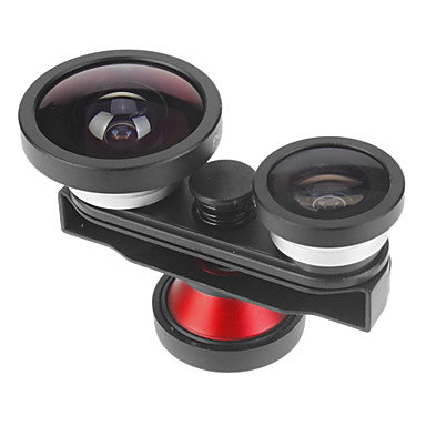 Rotatable 4-in-one Fisheye, Macro and 0.4X Super Wide Angle Lens with Front Camera for iPhone 5/5S