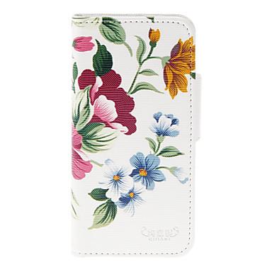 Için iPhone 5 Kılıf Kart Tutucu / Satandlı Pouzdro Tam Kaplama Pouzdro Çiçek Sert PU Deri iPhone SE/5s/5