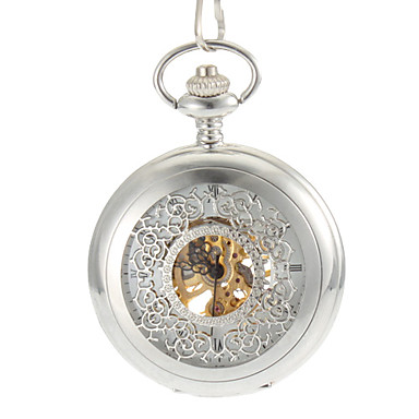 Men's Hollow Engraving Round Dial Steel Band Auto-Merchanical Pocket Watch Cool Watch Unique Watch