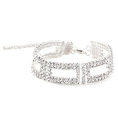 Kadın's Zincir & Halka Bileklikler Eşsiz Tasarım Moda Kristal Yapay Elmas Gümüş Kaplama alaşım Dörtgen Diğerleri Geometric Shape Mücevher