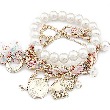 Women's Charm Bracelet Pearl Alloy Jewelry Party Daily