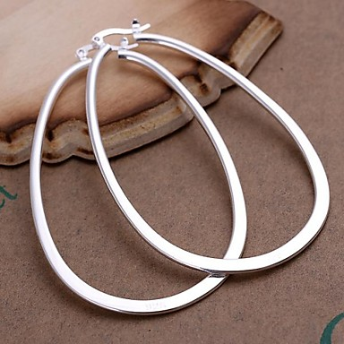 Fashion Silver Plated Zinc Alloy Hoop Earrings(1 Pair)
