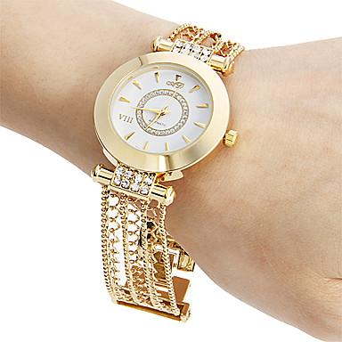 Bayanların Bilezik Saat Gündelik Saatler Japonca Quartz Bakır Bant Işıltılı Zarif Altın Rengi Altın