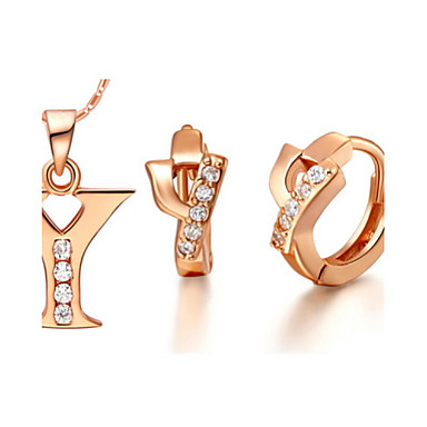 eeafbdca2 Alphabet Letter Y Gold Silver Plated (Necklaces&Earrings) Wedding Jewelry  Sets #01178279
