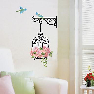 kuş kafesi çiçek duvar etiketleri çıkartılabilir ev dekorasyon pvc çocuk odası