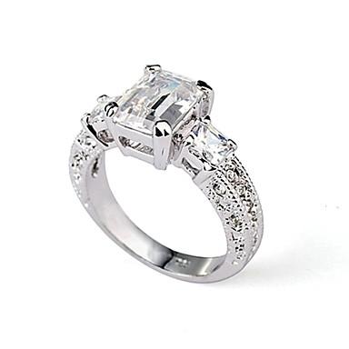 Kadın's Kristal Bildiri Yüzüğü - Altın Kaplama, Simüle Elmas 6 / 7 / 8 Gümüş Uyumluluk Düğün / Parti / Günlük