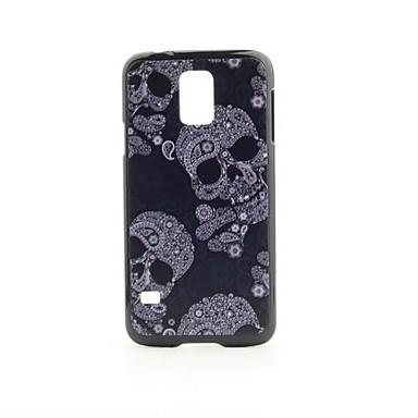 Samsung Galaxy i9600 S5 için serin Kafatası Desen PVC Geri Case