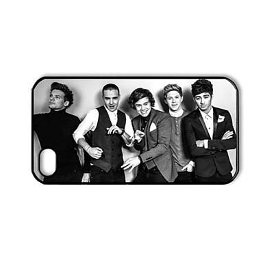 One Direction Siyah ve Beyaz Desen iPhone 4/4S için Plastik Hard Case
