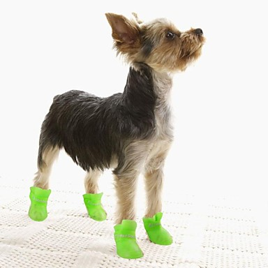 cheap Dog Clothing & Accessories-Dogs Cat Dog Boots / Shoes Waterproof Solid Colored Yellow Blue Pink For Pets / Winter