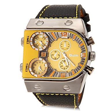 זול שעוני גברים-Oulm בגדי ריקוד גברים שעונים צבאיים שעון יד קווארץ דמוי עור מרופד שחור שלושה אזורי זמן אנלוגי קסם מפואר - לבן כתום צהוב שנתיים חיי סוללה / סוקסי SR626SW