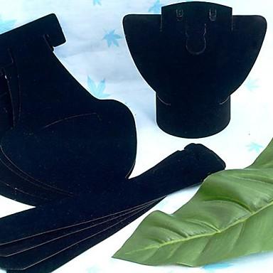 Velvet plastique pliable Mode Petit Bijou Buste présentoir pour le collier (noir) (1pc)