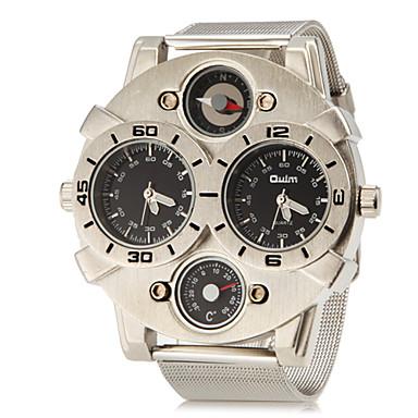 Недорогие Часы на металлическом ремешке-Муж. Армейские часы Наручные часы Кварцевый С двумя часовыми поясами Нержавеющая сталь Группа Аналоговый Кулоны Серебристый металл - Белый Черный Два года Срок службы батареи / SOXEY SR626SW