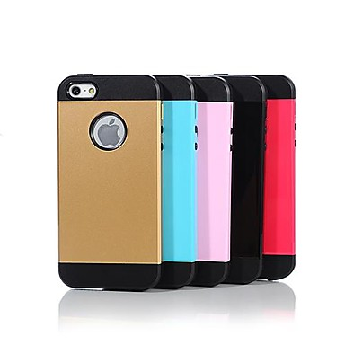 abordables Coques pour iPhone 5-Caisse d'armure de conception métallique de couleur épaisse de protection pour iPhone 5/5S (couleurs assorties)