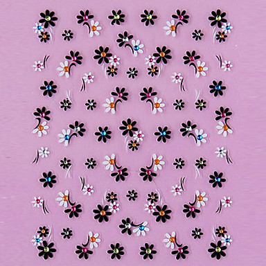 1 pcs 3D Çivi Çıkartmaları Çiçek / Moda Sevimli Günlük Tırnak Tasarımı Tasarımı