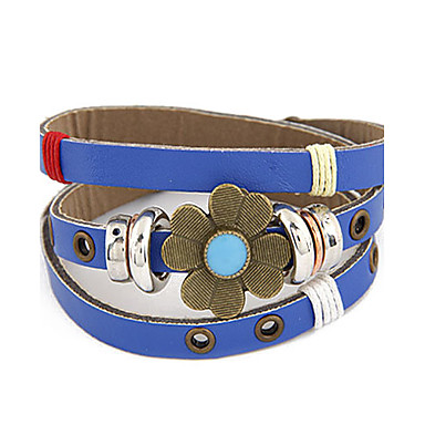 Vintage Multi-row Leather Clover Pattern  Bracelet(Assorted Colors)