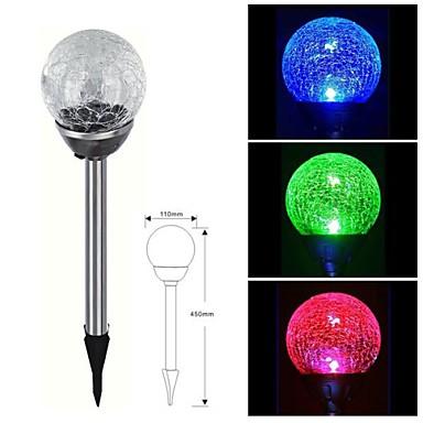1-LED Paslanmaz Çelik Güneş Renk değiştirme Crackle Glass Ball Stake Işık Çim Lambası
