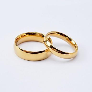 Pentru femei Oțel titan / Placat Auriu Inele Cuplu / Band Ring - Rotund Iubire / Modă / stil minimalist Negru / Auriu Inel Pentru Nuntă /
