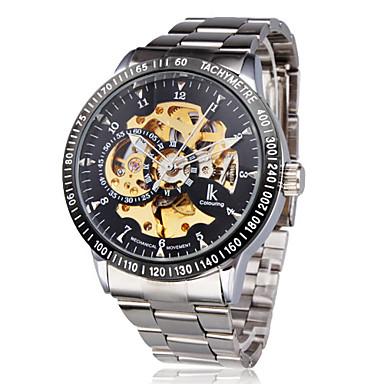 Hombre Reloj de Pulsera El reloj mecánico Cuerda Automática Huecograbado Acero Inoxidable Banda De Lujo Plata Negro