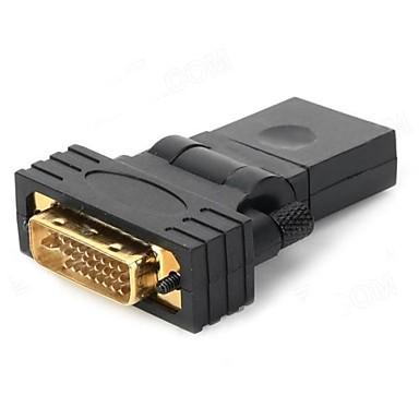 DVI 24 HDMI Kadın 1 Erkek Rotary Adaptörü - (Siyah)