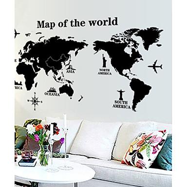 Duvar Etiketler Harita Duvar Çıkartmaları Dekoratif Duvar Çıkartmaları, Vinil Ev dekorasyonu Duvar Çıkartması Duvar