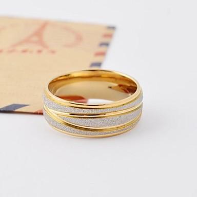 Erkek Kadın's Evlilik Yüzükleri Aşk kostüm takısı Titanyum Çelik Altın Kaplama Round Shape Mücevher Uyumluluk Günlük