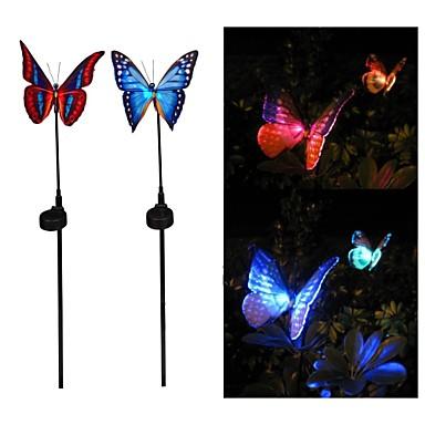 2. Güneş Enerjisi Fiber Optik Kelebek RGB Colors Set LED Işık Bahçe Açık lambası