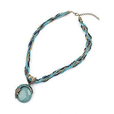 Kadın's Turkuaz Kıvrımlı Uçlu Kolyeler - Bohem, Avrupa, Moda Kırmzı, Yeşil, Mavi 42+5 cm Kolyeler Mücevher 1pc Uyumluluk Parti, Doğumgünü, Hediye