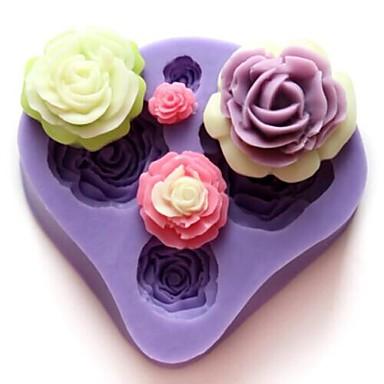Dört Çiçek Şekilli Bake fandant kalıp, L7cm * W7.3cm * H1.3cm