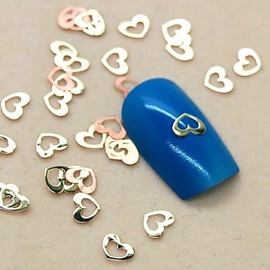 200pcs güzel içi boş kalp şeklinde dilim metal çivi sanat dekorasyon