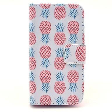 rouge ananas motif sur cuir PU blanc de cas complète du corps pour iPhone 4 / 4S