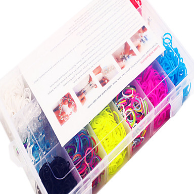 curcubeu colorat banda de război de țesut DIY cauciuc multicolore (1200 buc) și conector